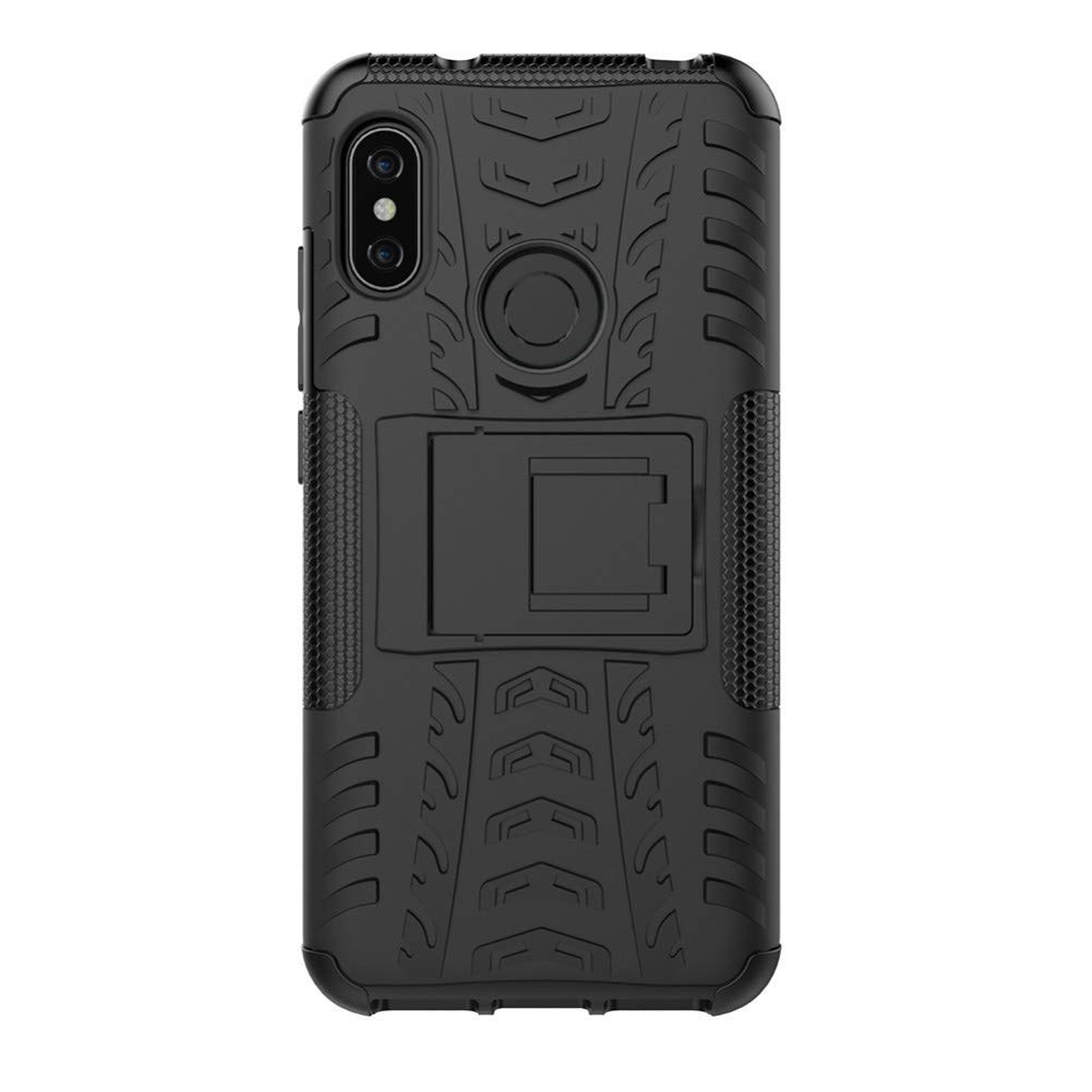 Xiaomi Mi A2 Cover Hybrid DWaybox Rugged Heavy Duty Armor Hard Back Cover Case with Kickstand for Xiaomi Mi A2/Mi 6X 5.99 Inch (Black)