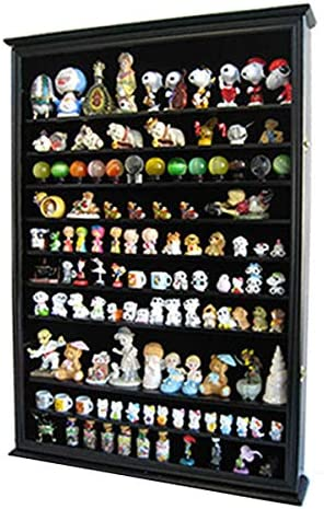 DisplayGifts Large Wall Mounted Curio Cabinet Shadow Box for Action Figures, Figurines, Black Finish
