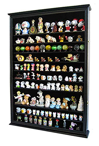 (DisplayGifts Large Wall Mounted Curio Cabinet Shadow Box for Action Figures, Vinylmations, Funko Pop, Figurines, Black Finish)