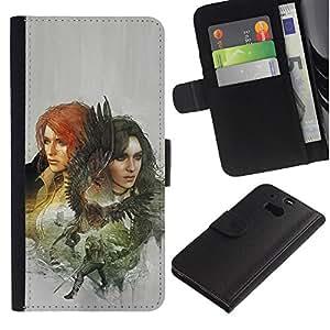 LECELL--Cuero de la tarjeta la carpeta del tirón Smartphone Slots Protección Holder For HTC One M8 -- Dragón Slayers --