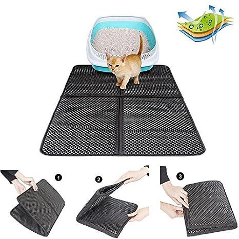 Kobwa Cuatro Bandeja de arena plegable para gatos, alfombrilla de doble piel grande para gato