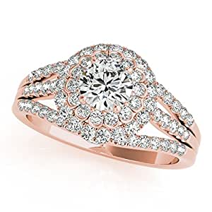 Fairy Tale Flower Double Halo Engagement Ring 14k Rose Gold (1.13ct)