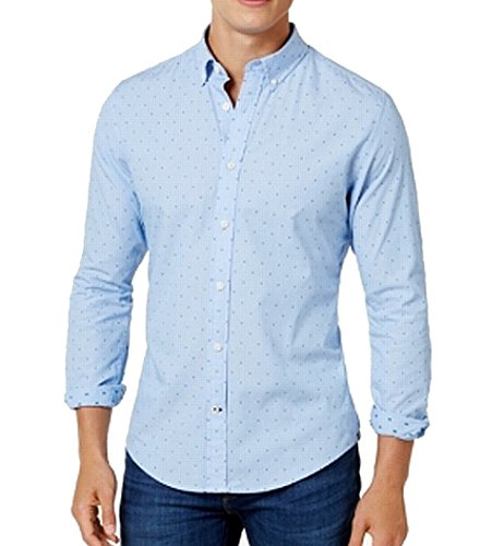 Tommy Hilfiger Men's Custom-Fit Micro-Stripe Dot-Pattern Shirt Blue (XXL) -