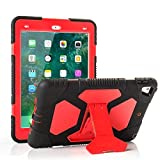 ACEGUARDER iPad 2017 iPad 9.7 inch Case, Shockproof Impact Resistant Protective Case Cover Full Body Rugged for Kids with Kickstand for Apple New iPad 9.7 inch 2017 Tablet, Black Red