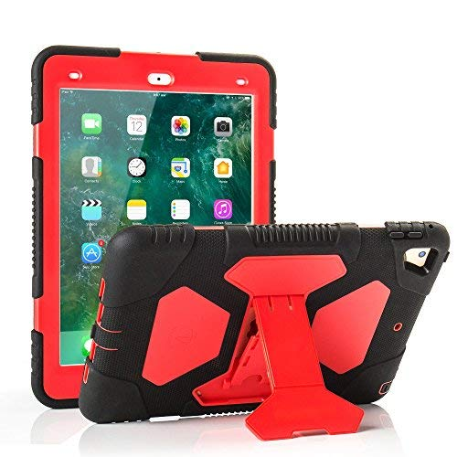 iPad 9.7 inch Case, Shockproof Impact Resistant Protective Case Cover Full Body Rugged for Kids with Kickstand for Apple New iPad 9.7 inch 2017 Tablet, Black Red ()