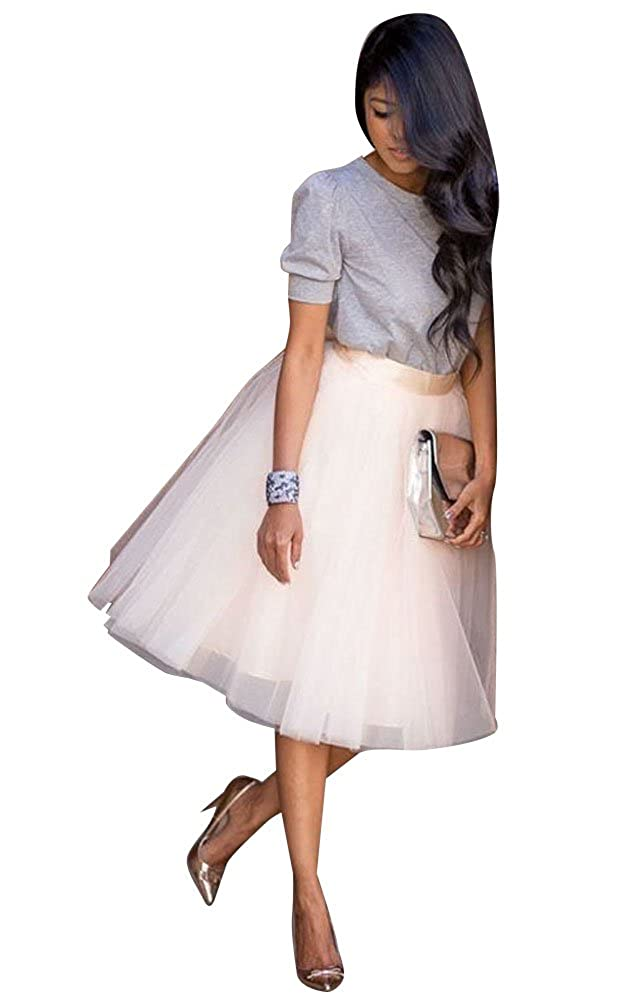 Canis Womens A Line Short Knee Length Tutu Tulle Prom Party Skirt