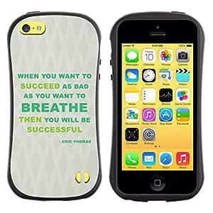 All-Round híbrido de goma duro caso cubierta protectora Accesorio Generación-I BY RAYDREAMMM - Apple iPhone 5C - Breathe Success Green Grey Message
