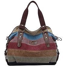 The Seventh Large Canvas Striped Bag, Multi-Color Canvas Handbags Top-Handle Canvas hobo Tote Bag Shopper Shoulder Bag for Women