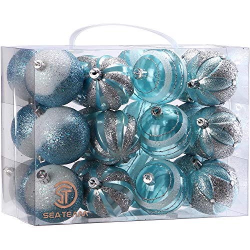 Sea Team 60mm/2.36 Decorative Shatterproof Painting & Glittering Designs Christmas Ball Ornaments Set with Embossed Finish Surface, 24-Pack, Babyblue
