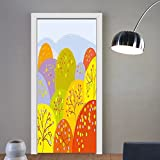 Gzhihine custom made 3d door stickers Kids Autumn Season Themed Artwork Colorful Spots with Trees and Dots Flowers Cute Forest Multicolor For Room Decor 30x79