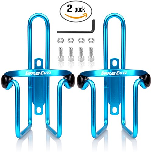 Water Bottle Cages, Dimples Excel Bike Bicycle Lightweight Water Bottle Holder Cages Brackets (2 PACK ( Blue + Blue ))
