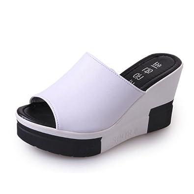 e70babc3445db Tongs Femmes Talons Hauts Compensés - Mode Sandale Poisson Bouche  Respirante Casual Chaussure Blanc 35