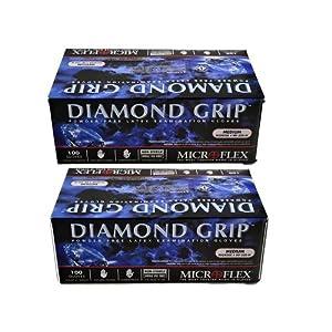 Microflex MF300M (2 Pack) Diamond Grip Latex Gloves, Size Medium, Pack of 200 Gloves 6
