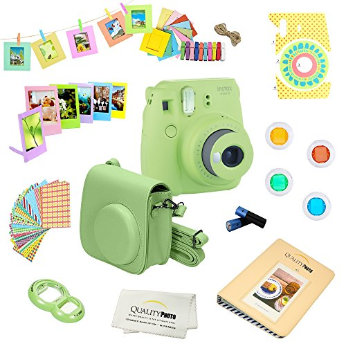 Fujifilm Instax Mini 9 Camera + 14 PC Instax Accessories kit Bundle, Includes; Instax Case + Album + Frames & Stickers + Lens Filters + MORE (Lime Green)