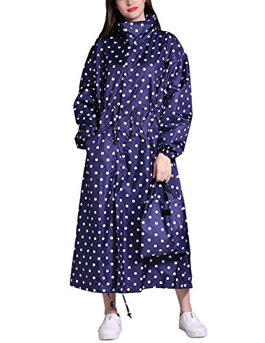 Buauty Womens Polka Dot Rain Trench Coat Blue Waterproof Cute Rain Jacket with Hood