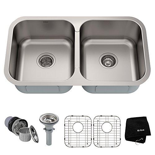 Bowl 18 Gauge Stainless Steel - Kraus KBU29 32 inch Undermount 50/50 Double Bowl 18 gauge Stainless Steel Kitchen Sink