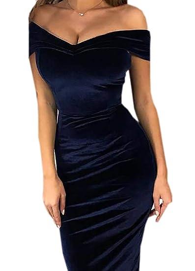 e3a50e3274f39 UUYUK Women Off-Shoulder Velvet Solid Color Cocktail Short Sleeve Dresses  Navy Blue US XS