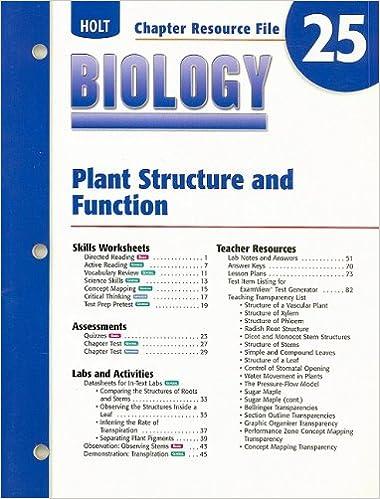 Holt Biology Chapter 25 Resource File Plant
