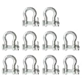 Anchor Shackle - Bolt Type - 1/4'' Steel - 0.5 Ton - 10 Pack