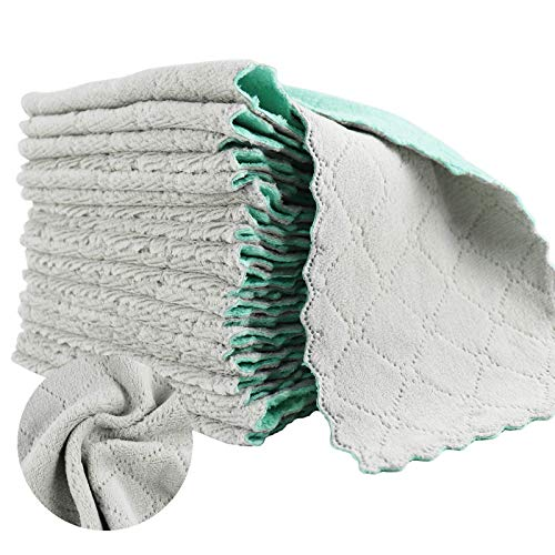 LOKiVE 21 Pack Kitchen Dish Towels,Super Absorbent Coral Velvet Dish Towels for Kitchen Cleaning Glass, Kitchens, Bathrooms, Cars (Grey & Green)