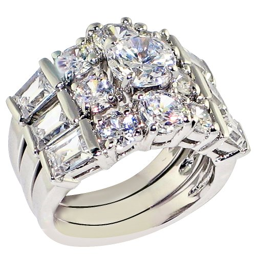 Ultra Luxurious 8 Ct. Round-shape and Emerald-shape Cubic Zirconia Cz Solitaire Bridal Engagement Wedding 3 Piece Ring Set (Center Stone Is 2 Cts) (8)