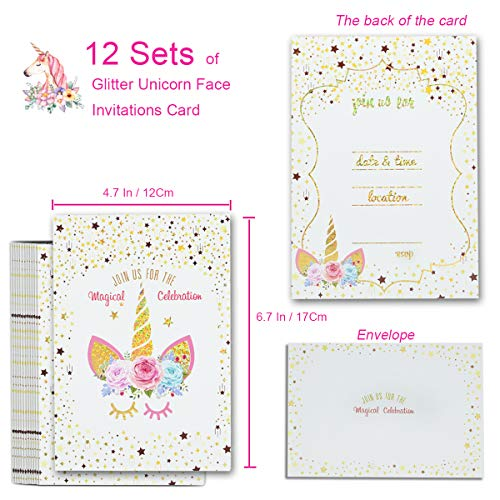 24pcs Unicorn Invitations With 24 Envelopes And Unicorn Thank You