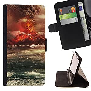 DEVIL CASE - FOR Apple Iphone 5C - Volcano Eruption Island - Style PU Leather Case Wallet Flip Stand Flap Closure Cover