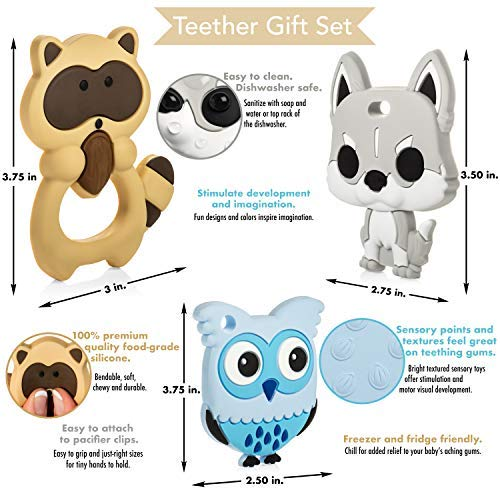 Soothe Sore Gums Lady Ironside Silicone Baby Teether Toy Set with Textured Back to Massage Stimulate Motor Skills Set Sensory Skills Freezer-Safe BPA-Free Woodland Creatures Food-Grade