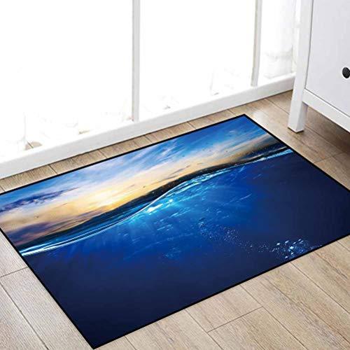 """Soft Indoor Hallway Entry Door Mat Carpet, Design Template with Underwater Part and Sunset Skylight Area Rug, for Living Room Bedroom Kitchen Bathroom Doormat Floor Mat, 31.5"""" W x 47.2"""" L"""