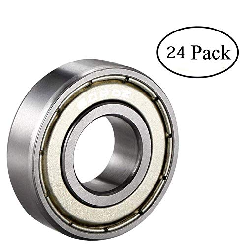 ipccam 24 Pack 608ZZ Deep Groove Ball Bearing, Precision Bearings 8 mm X 22 mm X 7 mm, Double Shielded Metal Seal, Suitable for Linear Motion, Wheels, Skateboard, High Speed & Durable