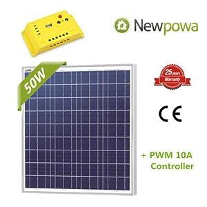 Newpowa 50w Watt 12v Solar Panel + PWM 10A 12V Charge Controller USB Regulator