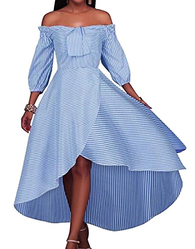 Fulok Womens Striped Hi-Low Puff Sleeve Off Shoulder Slim Long Dress Blue L (Puff Shoulder Dress)
