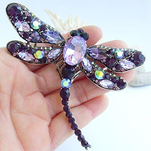 Sindary Elegant 3.74'' Gold-Tone Purple Rhinestone Crystal Dragonfly Brooch Pin Pendant BZ5684 by Animal Brooch-Sindary Jewelry (Image #2)