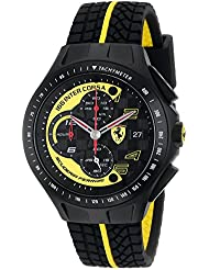 Ferrari Mens 0830078 Race Day Black and Yellow Watch with Textured Rubber Strap