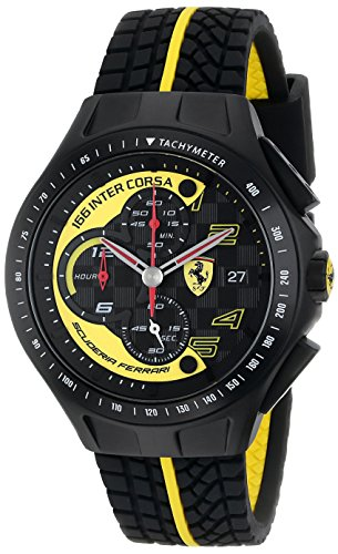 Ferrari-Mens-0830078-Race-Day-Black-and-Yellow-Watch-with-Textured-Rubber-Strap