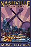 Nashville, Tennesseee - Skyline at Night (9x12 Art Print, Wall Decor Travel Poster)