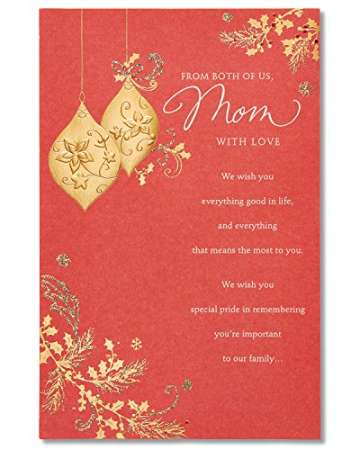 American Greetings from Both of Us Christmas Card for Mom with Glitter
