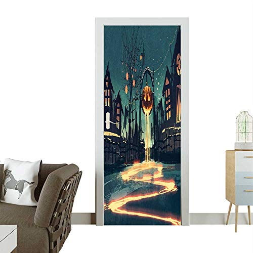Waterproof Decoration Door Decals Halloween Theme Night Pumpkin and House Ghost Town ful Teal Orange Perfect ornamentW32 x H80 INCH ()