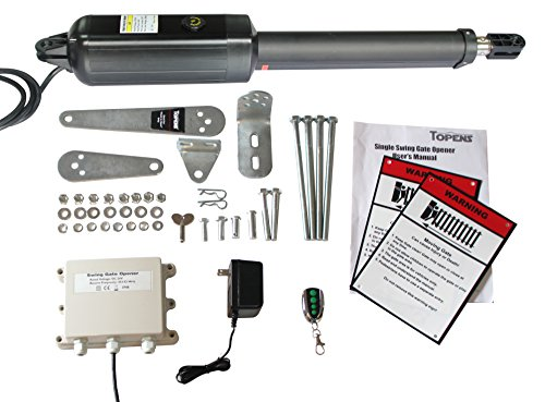 TOPENS A3 Automatic Gate Opener Kit Light Duty Single Gate Operator for Single Swing Gates Up to 12 Feet or 300 Pounds, Gate Motor (Swing Door Opener)