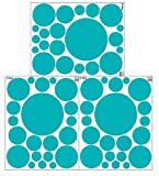 Create-A-Mural (63 Wall Dots) Teal Polka Dot Decals -Peel & Stick Wall Stickers 3