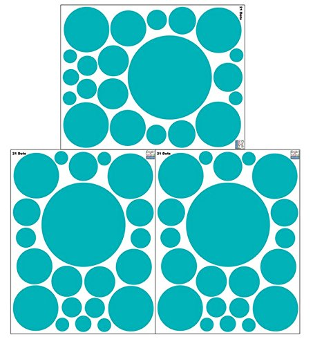 Polka Dot Decals -Teal Peel & Stick Removable Wall Stickers