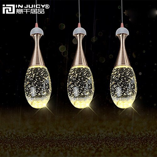 Injuicy Lighting Modern Luxury Crystal Bubble Perfume Bottle Pendant Lights Fixtures American Led Pendant Lamps for Cafe Bar Dining Rooms Restaurants Living Room Bedrooms Gift (3 Head Rectangle Plate) by Injuicy (Image #3)