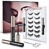 Magnetic Eyelashes and Eyeliner Kit, Upgraded Waterproof Magnetic Eyeliner, Reusable 3D False Eyelashes, 6 Styles Soft Eyelashes with scissors, Long Lasting & Natural Look