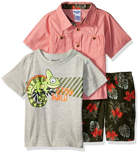 Nannette Baby Boys 3 Piece Woven Shirt and Tee Short Set