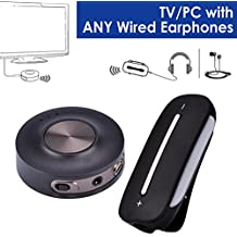 Avantree aptX Low Latency Wireless TV SET - Bluetooth Transmitter and Receiver, PLUG & PLAY, Bluetooth for Wired Headphones / Speakers, PC, Dual Link, VOIP, Bluetooth 4.2 - HT3187 [24M Warranty]