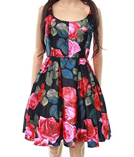 Satin Adam A Floral Line amp; Black Pleated Betsy Women Dress xfqFWI