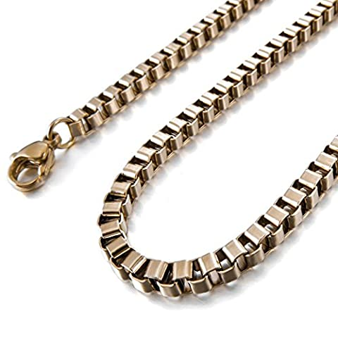 INBLUE Men's 1.5mm Wide Stainless Steel Necklace Box Chain Link Rose Gold Tone 14~40 Inch (Rose Gold Tone Chain)