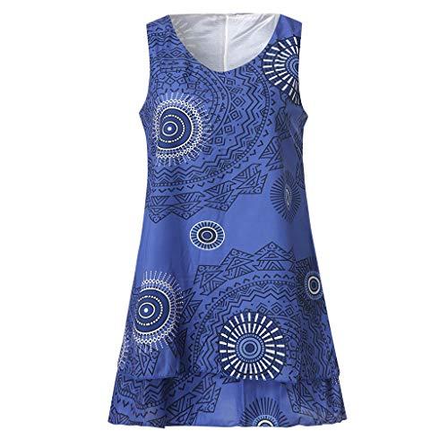 TOTOD Dress for Women,Plus Size Boho Print Mini Dress Loose Shift Sleeveless Tank Vest Sundress US 4-18 Blue