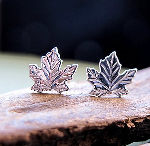 e4eeee462 Image Unavailable. Image not available for. Color: Sterling Silver Maple  Leaf Stud Earrings ...