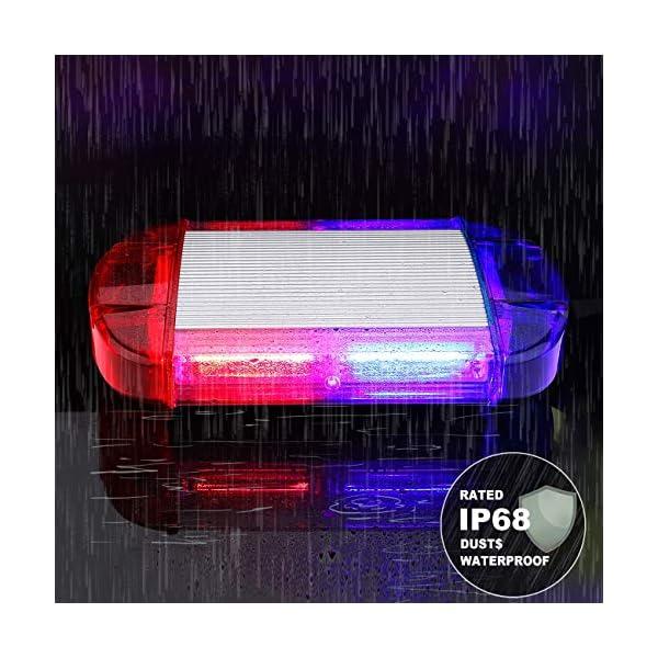 126 Luz Azul & rojo LED estroboscópica intermitentes para emergencia peligro advertencia vehículos de construcción luz minibar luz de advertencia luminosa con base magnética 5